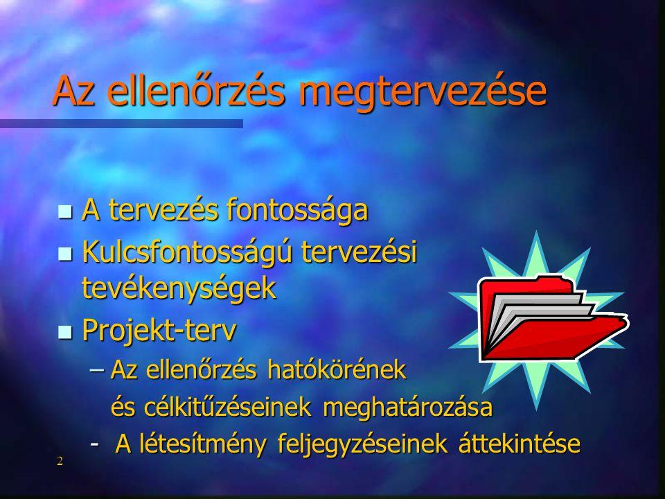 2 n A tervezés fontossága n Kulcsfontosságú tervezési tevékenységek n Projekt-terv –Az ellenőrzés hatókörének és célkitűzéseinek meghatározása - A létesítmény feljegyzéseinek áttekintése