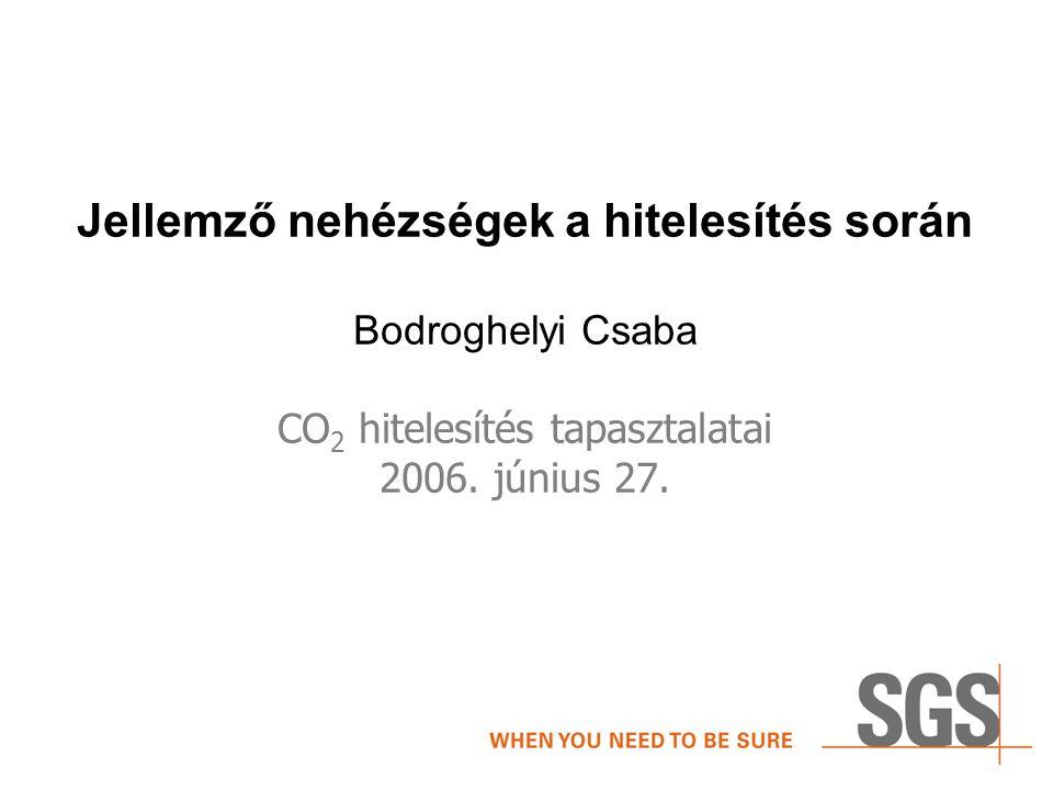 Jellemző nehézségek a hitelesítés során Bodroghelyi Csaba CO 2 hitelesítés tapasztalatai 2006.