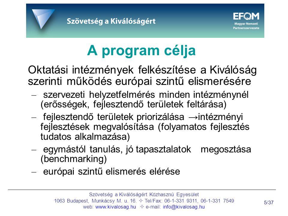 Szövetség a Kiválóságért Közhasznú Egyesület 1063 Budapest, Munkácsy M.