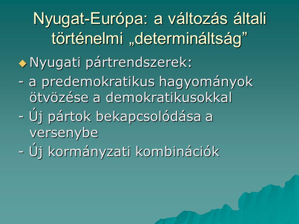 """Nyugat-Európa: a változás általi történelmi """"determináltság  Nyugati pártrendszerek: - a predemokratikus hagyományok ötvözése a demokratikusokkal - Új pártok bekapcsolódása a versenybe - Új kormányzati kombinációk"""