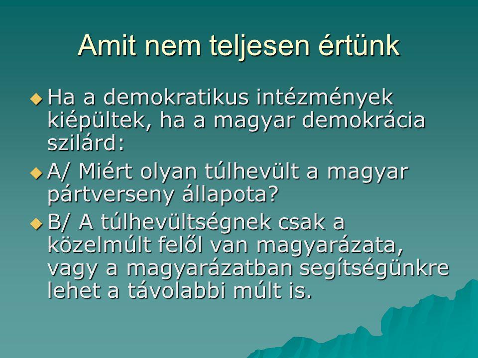 Amit nem teljesen értünk  Ha a demokratikus intézmények kiépültek, ha a magyar demokrácia szilárd:  A/ Miért olyan túlhevült a magyar pártverseny állapota.
