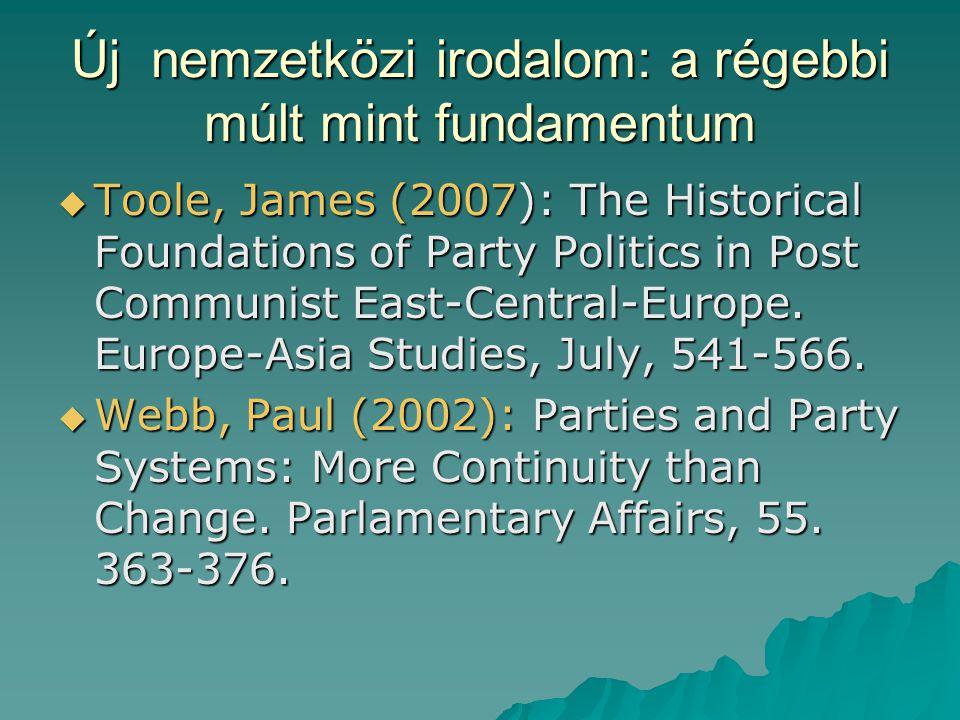 Toole és Webb  Mindketten azt hangoztatják (Toole Kelet-Közép-Európa, Webb Nyugat- Európa vonatkozásában), hogy sokkal erőteljesebben kell figyelnünk a kontinuitásra.