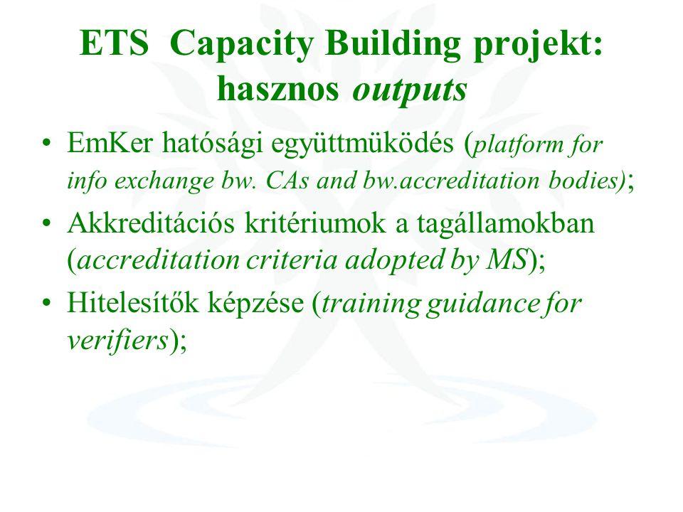 ETS Capacity Building projekt: hasznos outputs EmKer hatósági együttmüködés ( platform for info exchange bw.