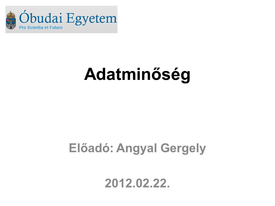 Adatminőség Előadó: Angyal Gergely 2012.02.22.