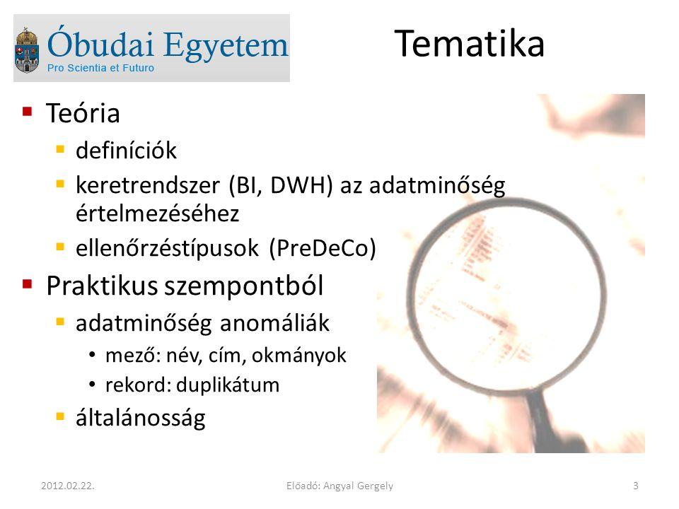 Tematika  Teória  definíciók  keretrendszer (BI, DWH) az adatminőség értelmezéséhez  ellenőrzéstípusok (PreDeCo)  Praktikus szempontból  adatminőség anomáliák mező: név, cím, okmányok rekord: duplikátum  általánosság Előadó: Angyal Gergely32012.02.22.