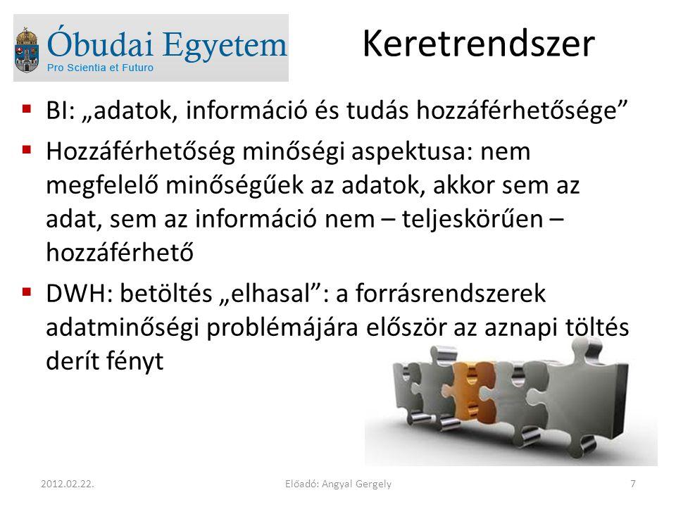 """Keretrendszer  BI: """"adatok, információ és tudás hozzáférhetősége  Hozzáférhetőség minőségi aspektusa: nem megfelelő minőségűek az adatok, akkor sem az adat, sem az információ nem – teljeskörűen – hozzáférhető  DWH: betöltés """"elhasal : a forrásrendszerek adatminőségi problémájára először az aznapi töltés derít fényt Előadó: Angyal Gergely72012.02.22."""