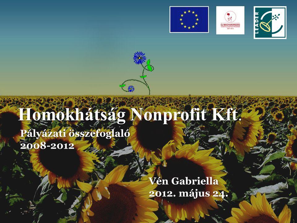 Homokhátság Nonprofit Kft. Pályázati összefoglaló 2008-2012 Vén Gabriella Vén Gabriella 2012.