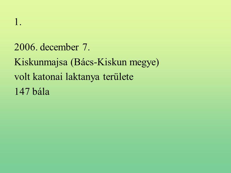 1. 2006. december 7. Kiskunmajsa (Bács-Kiskun megye) volt katonai laktanya területe 147 bála