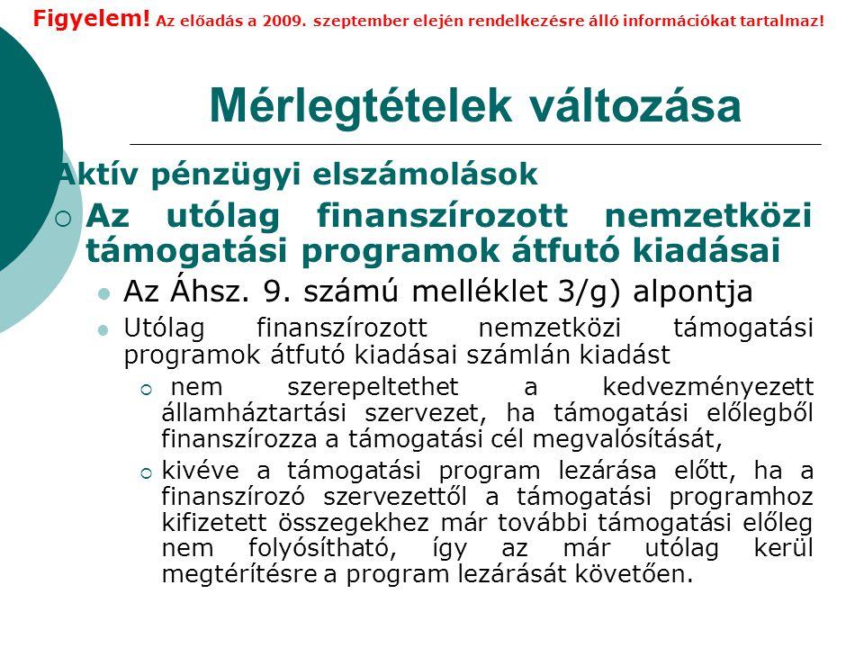 Mérlegtételek változása Aktív pénzügyi elszámolások  Az utólag finanszírozott nemzetközi támogatási programok átfutó kiadásai Az Áhsz.