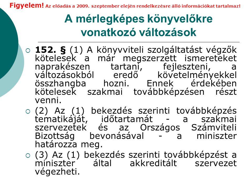 A mérlegképes könyvelőkre vonatkozó változások  152.
