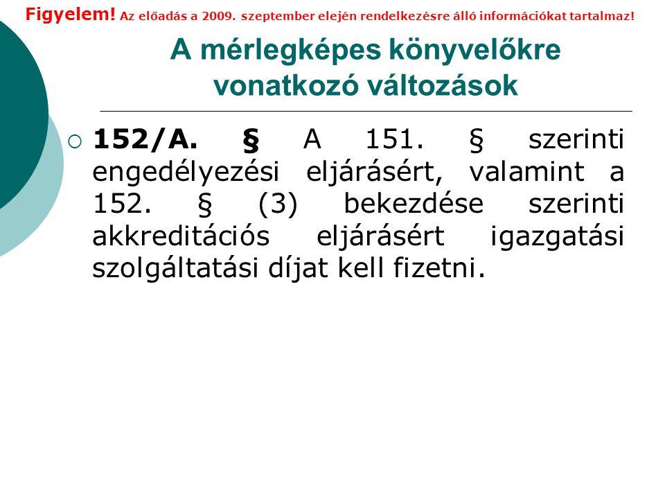A mérlegképes könyvelőkre vonatkozó változások  152/A.