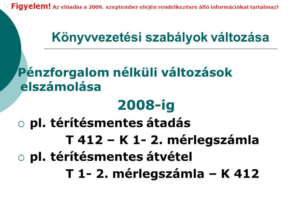 Könyvvezetési szabályok változása Pénzforgalom nélküli változások elszámolása 2008-ig  pl.