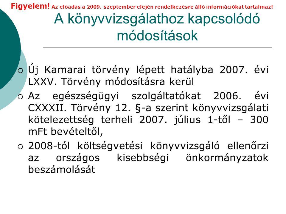 A könyvvizsgálathoz kapcsolódó módosítások  Új Kamarai törvény lépett hatályba 2007.