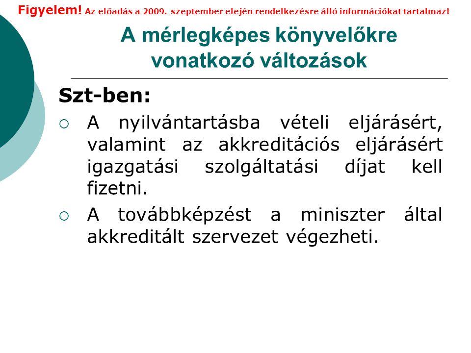A mérlegképes könyvelőkre vonatkozó változások  152/B.