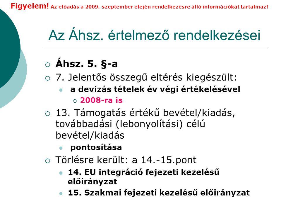 Az Áhsz.értelmező rendelkezései  Áhsz. 5. §-a  7.