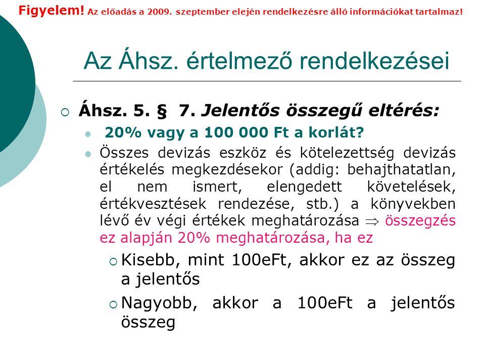 Az Áhsz.értelmező rendelkezései  Áhsz. 5. § 7.