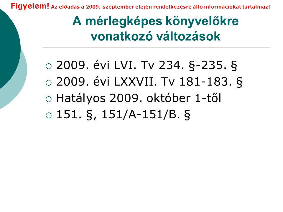 A mérlegképes könyvelőkre vonatkozó változások  2009.