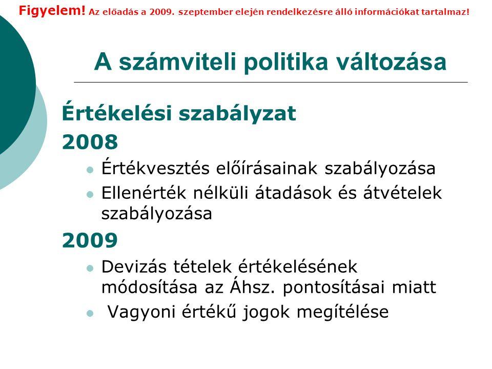A számviteli politika változása Értékelési szabályzat 2008 Értékvesztés előírásainak szabályozása Ellenérték nélküli átadások és átvételek szabályozása 2009 Devizás tételek értékelésének módosítása az Áhsz.