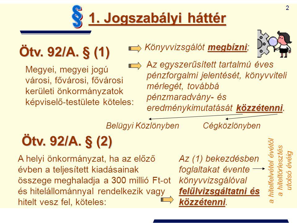 2 1. Jogszabályi háttér Ötv. 92/A. § (1) Megyei, megyei jogú városi, fővárosi, fővárosi kerületi önkormányzatok képviselő-testülete köteles: megbízni
