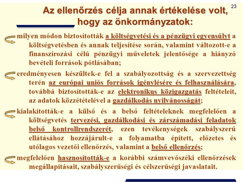 23 Az ellenőrzés célja annak értékelése volt, hogy az önkormányzatok: a költségvetési és a pénzügyi egyensúlyt milyen módon biztosították a költségvet