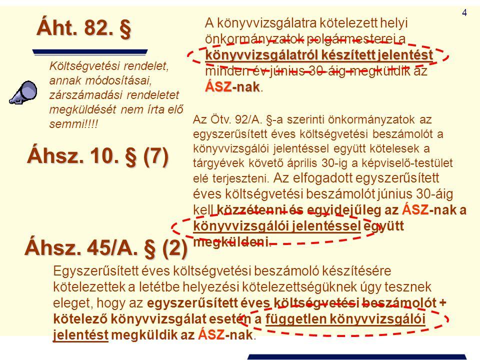 4 Áht. 82. § könyvvizsgálatról készített jelentést ÁSZ-nak A könyvvizsgálatra kötelezett helyi önkormányzatok polgármesterei a könyvvizsgálatról készí