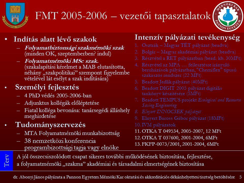 dr. Abonyi János pályázata a Pannon Egyetem Mérnöki Kar oktatási és akkreditációs dékánhelyettesi tisztség betöltésére5 FMT 2005-2006 – vezetői tapasz