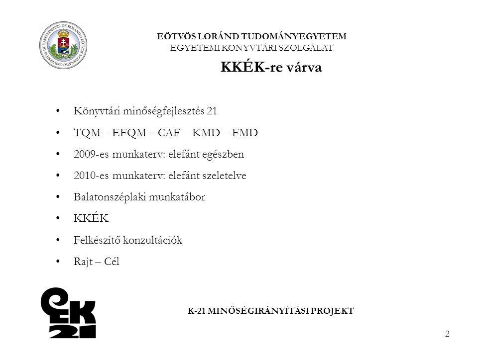 2 Könyvtári minőségfejlesztés 21 TQM – EFQM – CAF – KMD – FMD 2009-es munkaterv: elefánt egészben 2010-es munkaterv: elefánt szeletelve Balatonszéplak