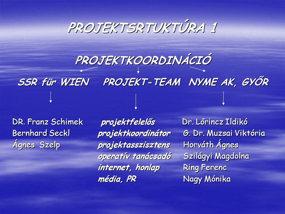 PROJEKTSRTUKTÚRA 1 PROJEKTKOORDINÁCIÓ SSR für WIENPROJEKT-TEAMNYME AK, GYŐR DR.