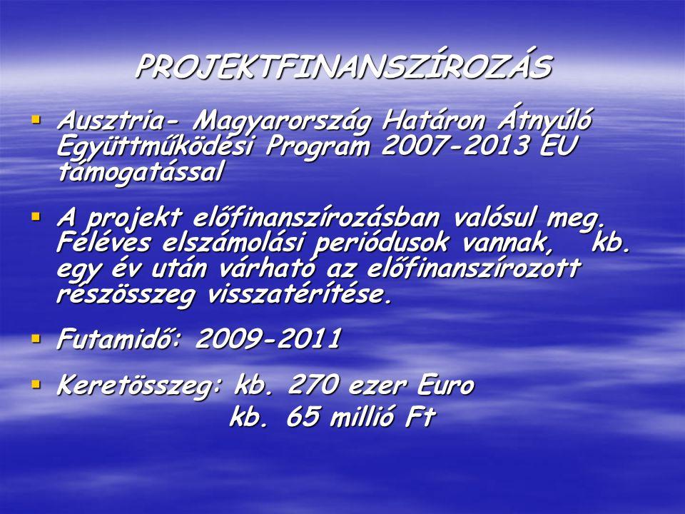 PROJEKTFINANSZÍROZÁS  Ausztria- Magyarország Határon Átnyúló Együttműködési Program 2007-2013 EU támogatással  A projekt előfinanszírozásban valósul meg.