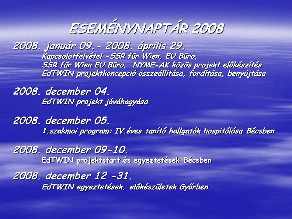 ESEMÉNYNAPTÁR 2008 2008. január 09.- 2008. április 29.