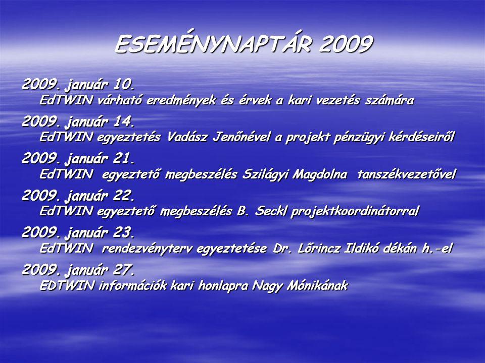 ESEMÉNYNAPTÁR 2009 2009.január 10. EdTWIN várható eredmények és érvek a kari vezetés számára 2009.