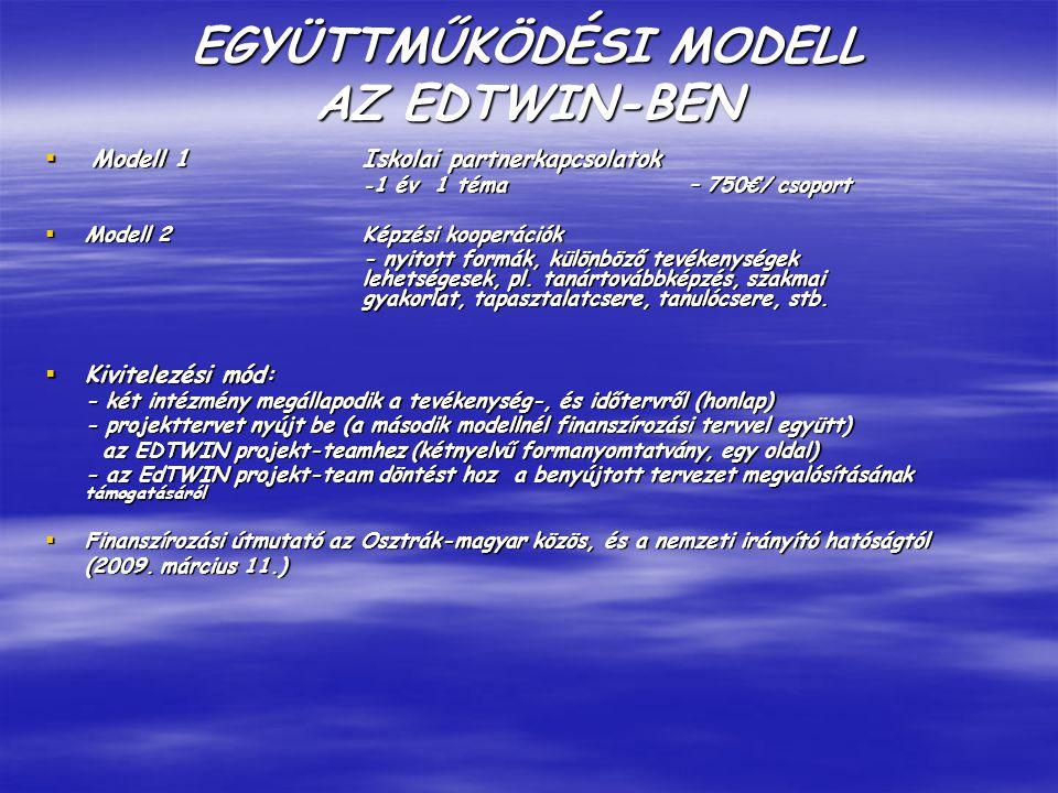 EGYÜTTMŰKÖDÉSI MODELL AZ EDTWIN-BEN  Modell 1 Iskolai partnerkapcsolatok - 1 év 1 téma – 750€/ csoport  Modell 2 Képzési kooperációk - nyitott formák, különböző tevékenységek lehetségesek, pl.