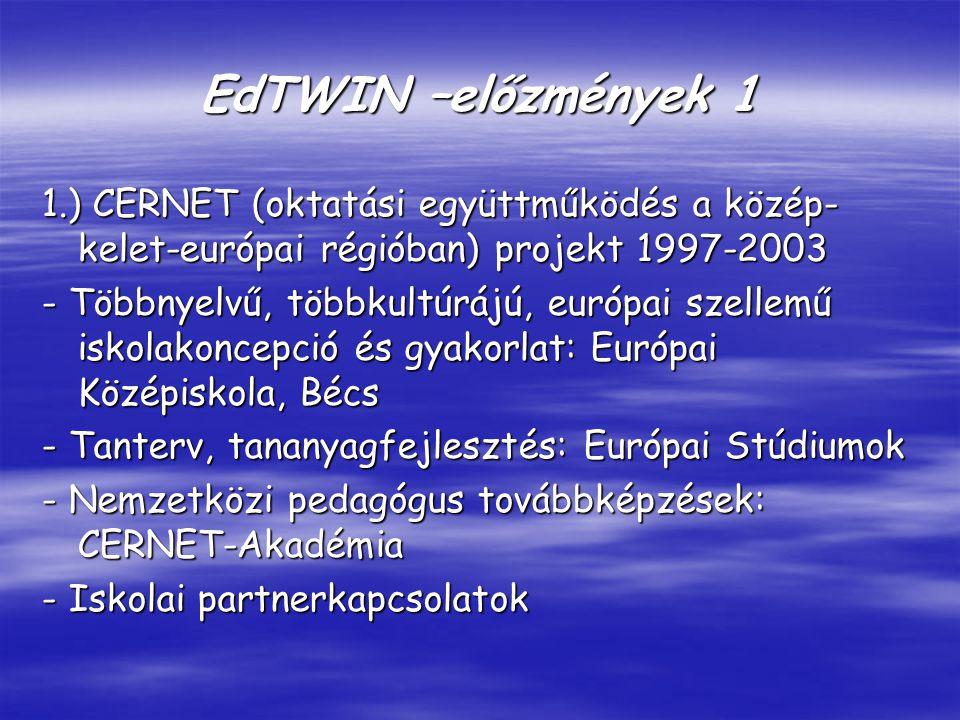 EdTWIN –előzmények 1 1.) CERNET (oktatási együttműködés a közép- kelet-európai régióban) projekt 1997-2003 - Többnyelvű, többkultúrájú, európai szellemű iskolakoncepció és gyakorlat: Európai Középiskola, Bécs - Tanterv, tananyagfejlesztés: Európai Stúdiumok - Nemzetközi pedagógus továbbképzések: CERNET-Akadémia - Iskolai partnerkapcsolatok