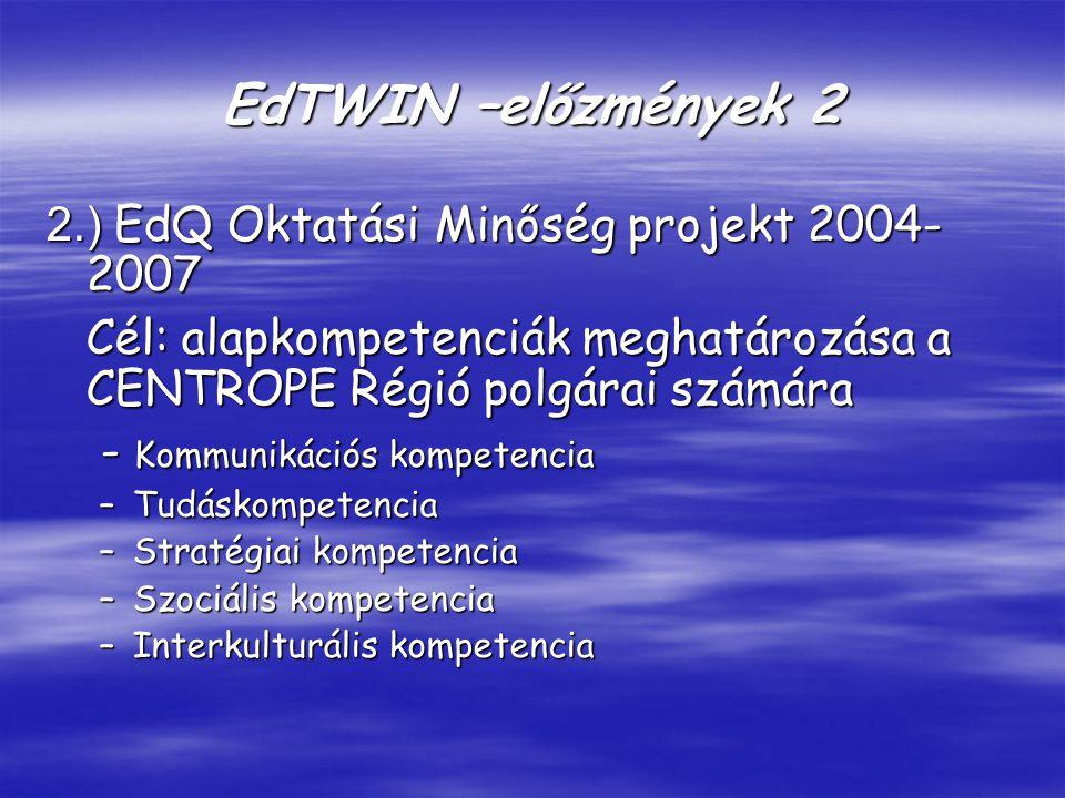 EdTWIN –előzmények 2 2.) EdQ Oktatási Minőség projekt 2004- 2007 Cél: alapkompetenciák meghatározása a CENTROPE Régió polgárai számára - Kommunikációs kompetencia - Kommunikációs kompetencia –Tudáskompetencia –Stratégiai kompetencia –Szociális kompetencia –Interkulturális kompetencia