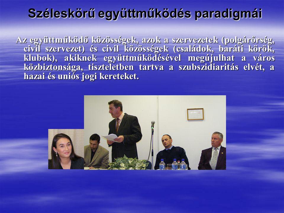 Széleskörű együttműködés paradigmái Széleskörű együttműködés paradigmái Az együttműködő közösségek, azok a szervezetek (polgárőrség, civil szervezet) és civil közösségek (családok, baráti körök, klubok), akiknek együttműködésével megújulhat a város közbiztonsága, tiszteletben tartva a szubszidiaritás elvét, a hazai és uniós jogi kereteket.