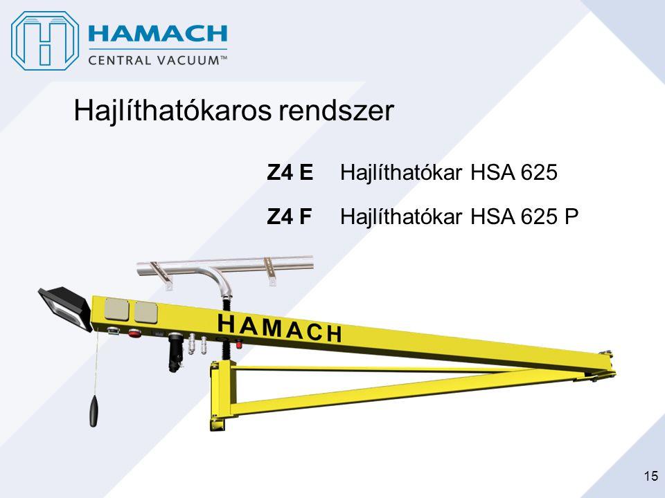15 Hajlíthatókaros rendszer Z4 E Hajlíthatókar HSA 625 Z4 F Hajlíthatókar HSA 625 P