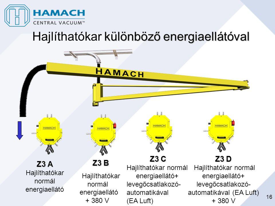 16 különböző energiaellátóval Hajlíthatókar különböző energiaellátóval Z3 A Hajlíthatókar normál energiaellátó Z3 B Hajlíthatókar normál energiaellátó
