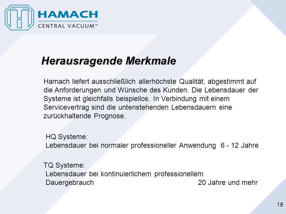 18 Herausragende Merkmale Hamach liefert ausschließlich allerhöchste Qualität, abgestimmt auf die Anforderungen und Wünsche des Kunden. Die Lebensdaue