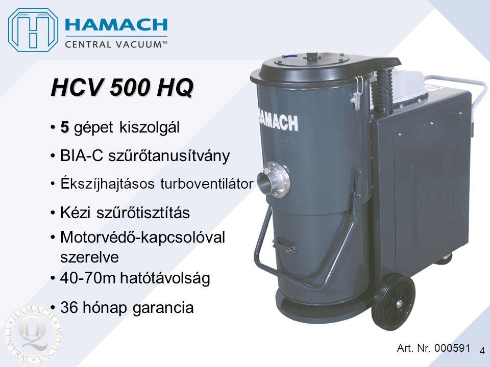 4 HCV 500 HQ 55 gépet kiszolgál Art. Nr. 000591 BIA-C szűrőtanusítvány Ékszíjhajtásos turboventilátor Kézi szűrőtisztítás Motorvédő-kapcsolóval szerel