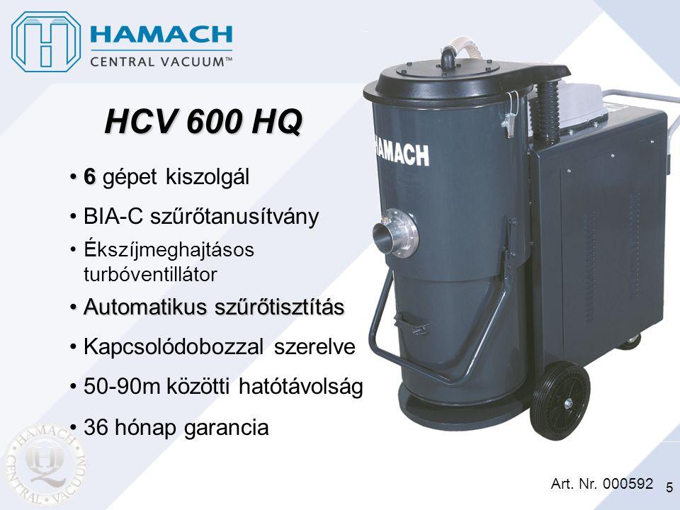 5 HCV 600 HQ Art. Nr. 000592 66 gépet kiszolgál BIA-C szűrőtanusítvány Ékszíjmeghajtásos turbóventillátor Automatikus szűrőtisztításAutomatikus szűrőt