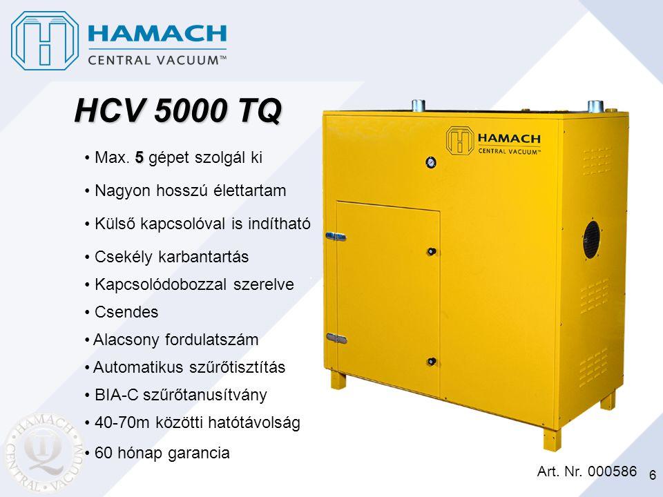 6 5 Max. 5 gépet szolgál ki Art. Nr. 000586 HCV 5000 TQ Nagyon hosszú élettartam Külső kapcsolóval is indítható Csekély karbantartás Kapcsolódobozzal
