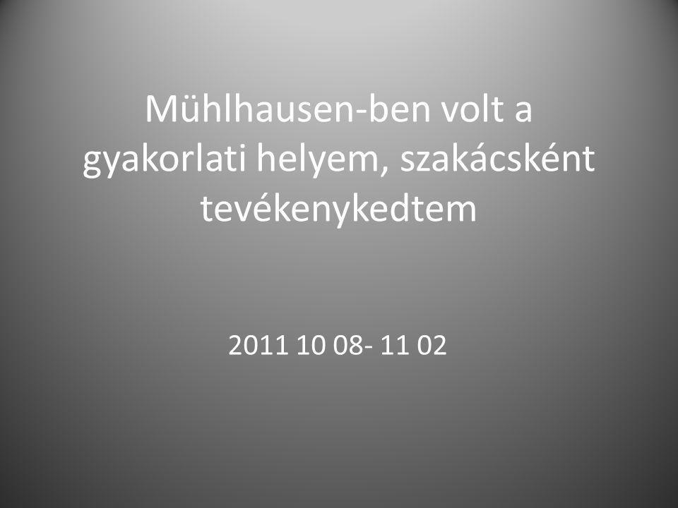 Mühlhausen-ben volt a gyakorlati helyem, szakácsként tevékenykedtem 2011 10 08- 11 02