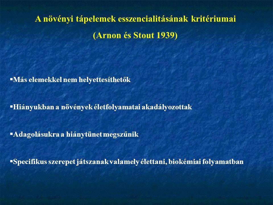 A növényi tápelemek esszencialitásának kritériumai (Arnon és Stout 1939)  Más elemekkel nem helyettesíthetők  Hiányukban a növények életfolyamatai a