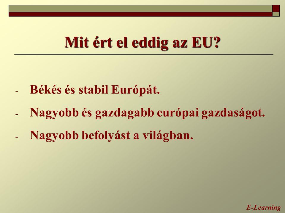 Mit ért el eddig az EU? - Békés és stabil Európát. - Nagyobb és gazdagabb európai gazdaságot. - Nagyobb befolyást a világban. E-Learning