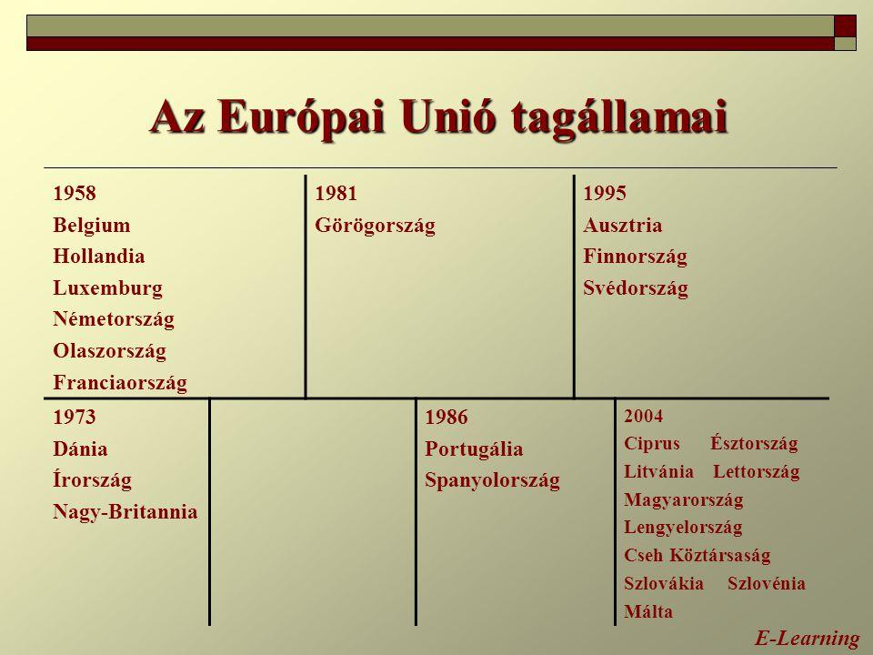 Az Európai Unió tagállamai E-Learning 1958 Belgium Hollandia Luxemburg Németország Olaszország Franciaország 1981 Görögország 1995 Ausztria Finnország