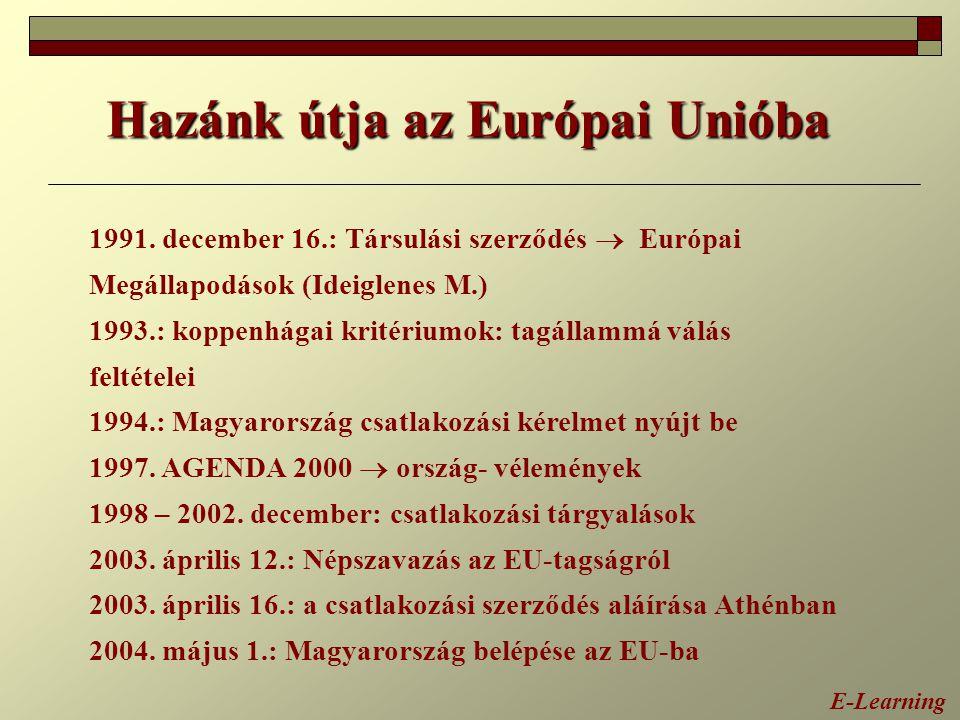 E-Learning Hazánk útja az Európai Unióba 1991. december 16.: Társulási szerződés  Európai Megállapodások (Ideiglenes M.) 1993.: koppenhágai kritérium