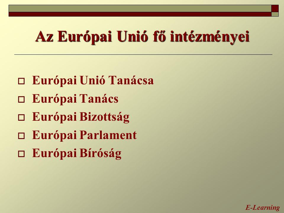 Az Európai Unió fő intézményei  Európai Unió Tanácsa  Európai Tanács  Európai Bizottság  Európai Parlament  Európai Bíróság E-Learning