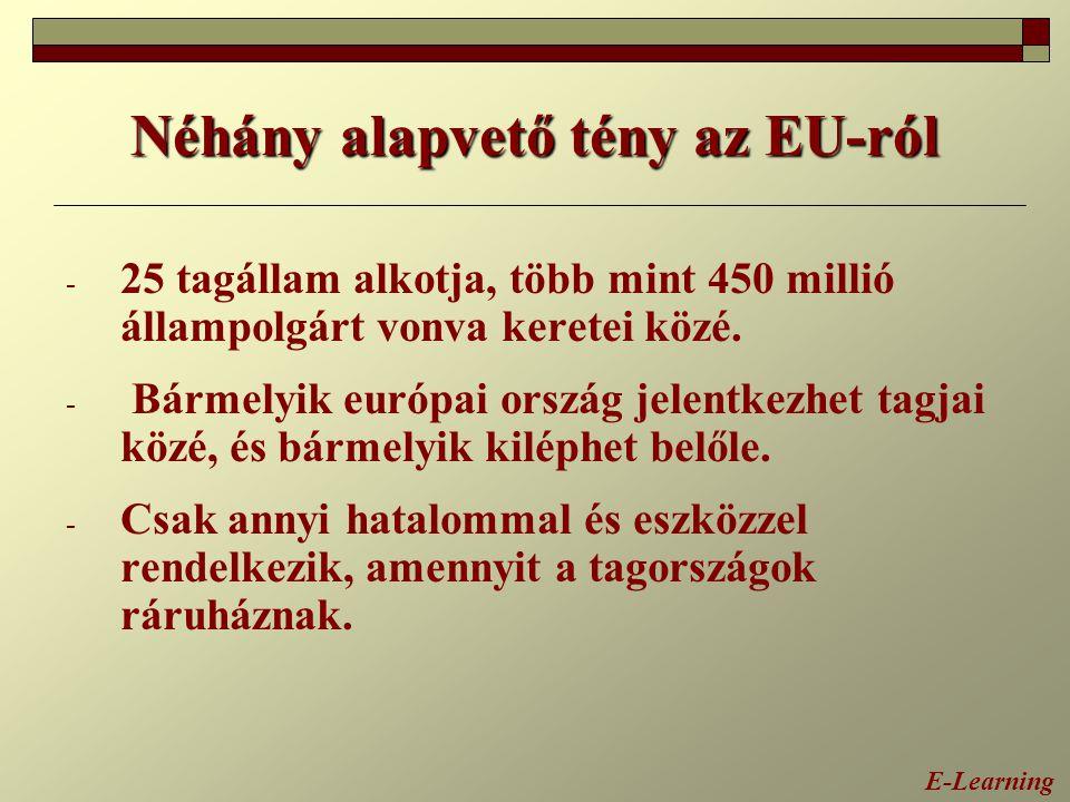 Néhány alapvető tény az EU-ról - 25 tagállam alkotja, több mint 450 millió állampolgárt vonva keretei közé. - Bármelyik európai ország jelentkezhet ta