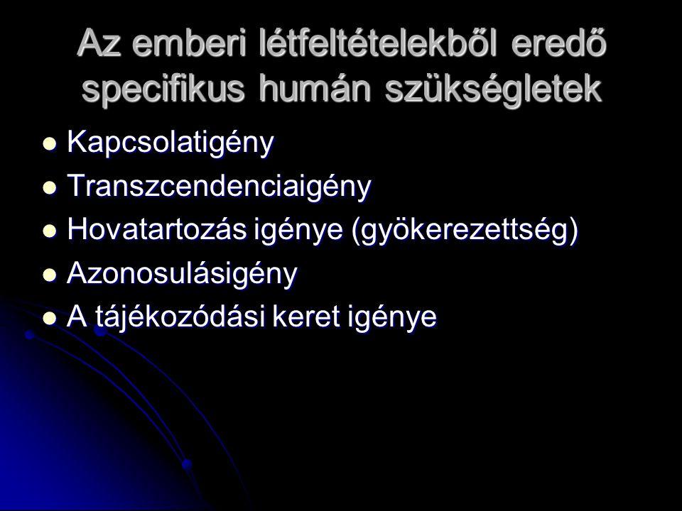 Az emberi létfeltételekből eredő specifikus humán szükségletek Kapcsolatigény Kapcsolatigény Transzcendenciaigény Transzcendenciaigény Hovatartozás ig
