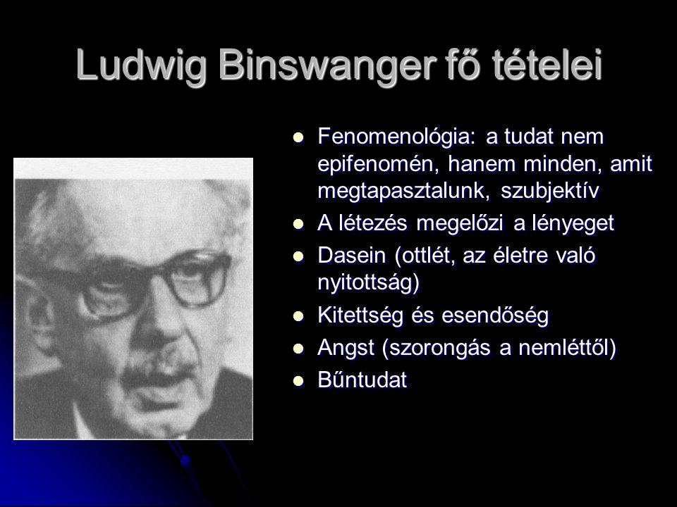 Ludwig Binswanger fő tételei Fenomenológia: a tudat nem epifenomén, hanem minden, amit megtapasztalunk, szubjektív Fenomenológia: a tudat nem epifenom